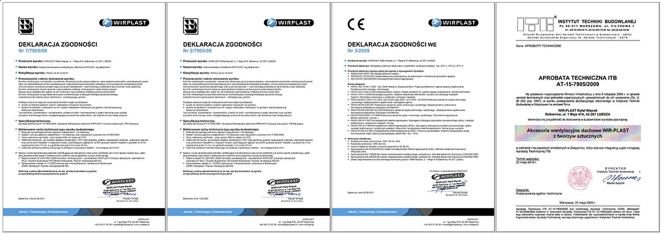 Сертификаты соответствия на вентиляционные выходы WIRPLAST